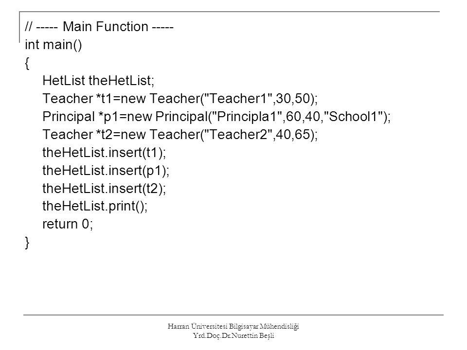 Harran Üniversitesi Bilgisayar Mühendisliği Yrd.Doç.Dr.Nurettin Beşli // ----- Main Function ----- int main() { HetList theHetList; Teacher *t1=new Te