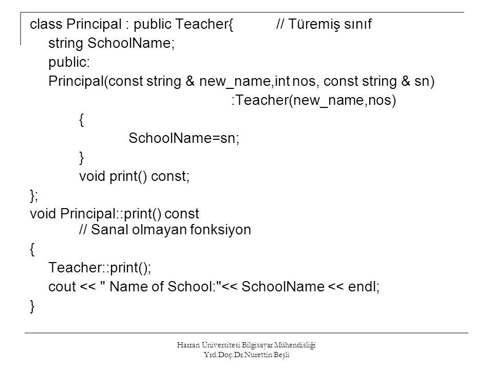 Harran Üniversitesi Bilgisayar Mühendisliği Yrd.Doç.Dr.Nurettin Beşli class Principal : public Teacher{// Türemiş sınıf string SchoolName; public: Pri