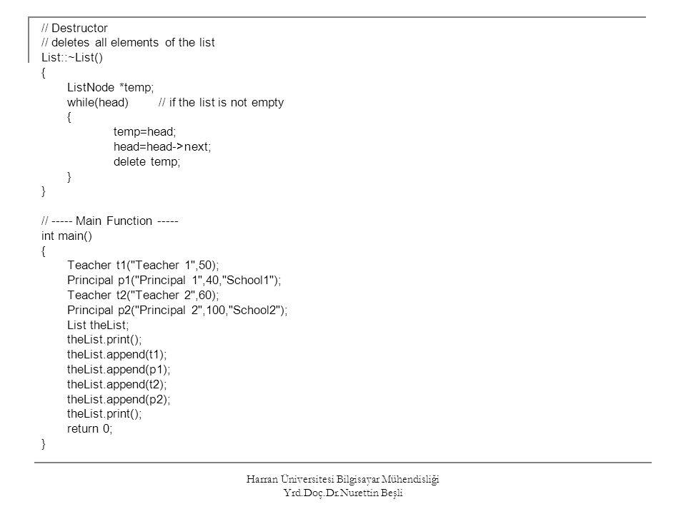 Harran Üniversitesi Bilgisayar Mühendisliği Yrd.Doç.Dr.Nurettin Beşli // Destructor // deletes all elements of the list List::~List() { ListNode *temp