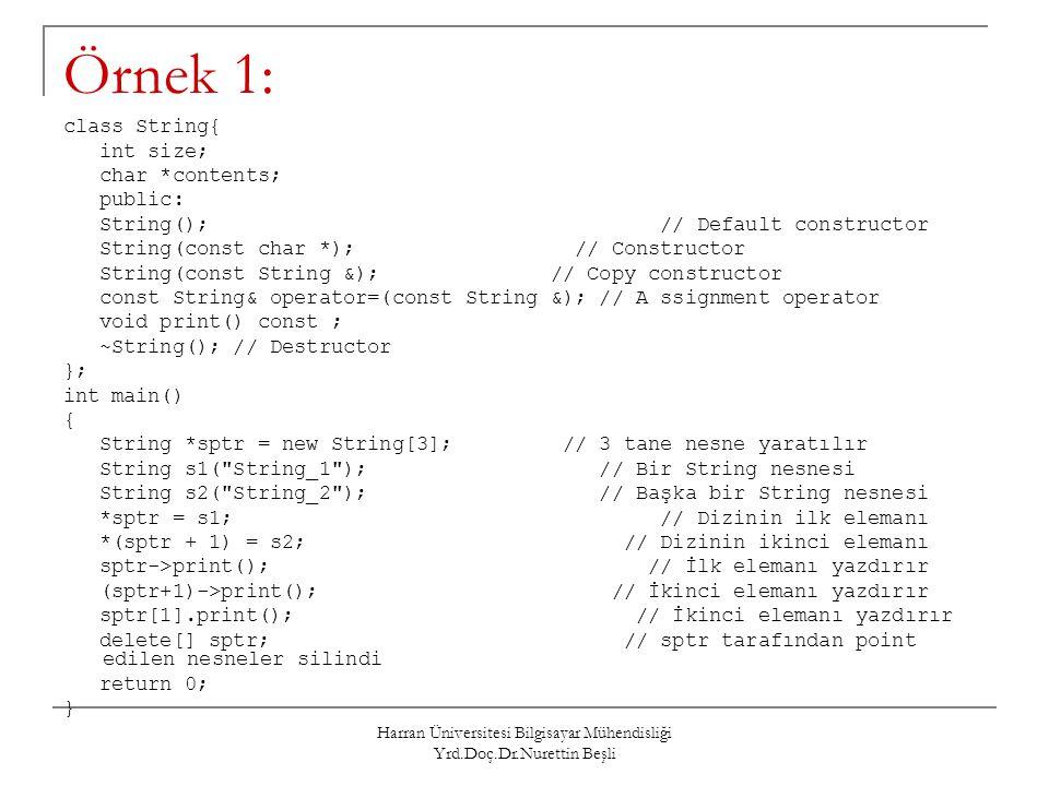 Harran Üniversitesi Bilgisayar Mühendisliği Yrd.Doç.Dr.Nurettin Beşli Örnek 1: class String{ int size; char *contents; public: String(); // Default co