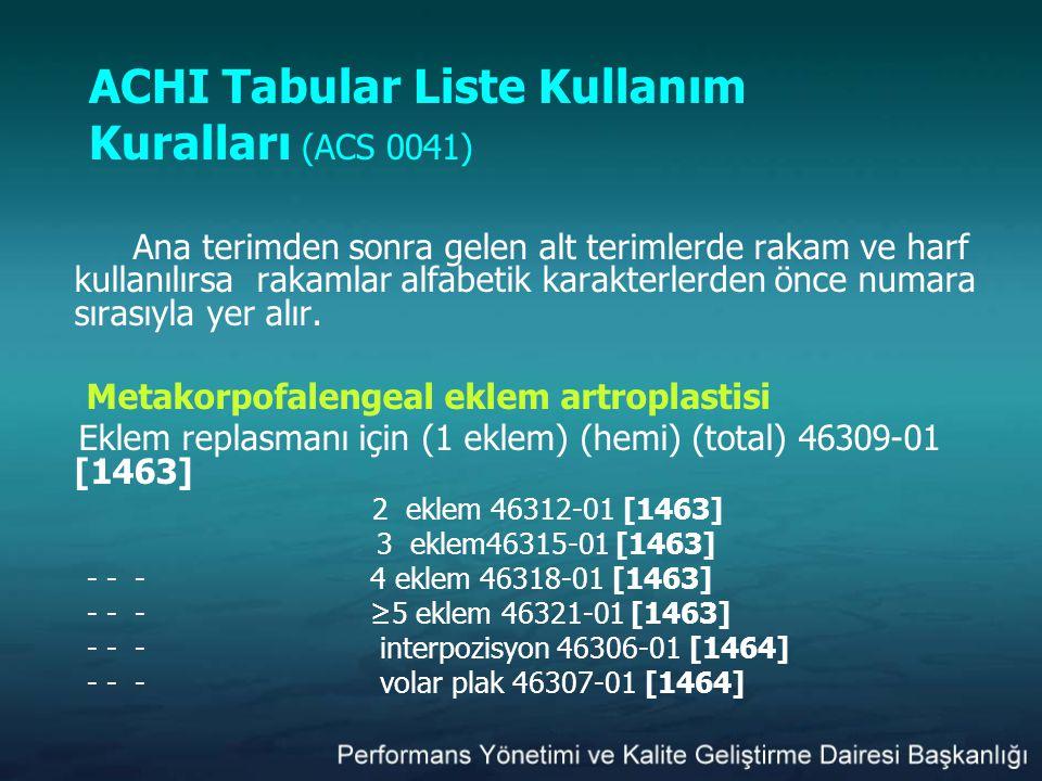 ACHI Tabular Liste Kullanım Kuralları (ACS 0041) Ana terimden sonra gelen alt terimlerde rakam ve harf kullanılırsa rakamlar alfabetik karakterlerden