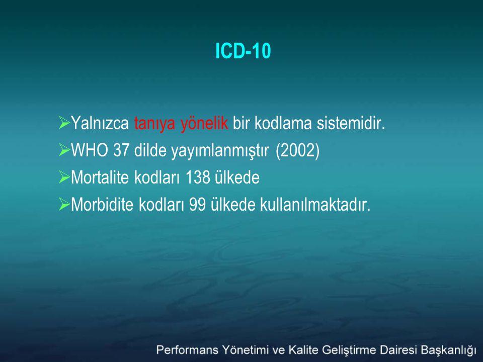 ICD-10  Yalnızca tanıya yönelik bir kodlama sistemidir.  WHO 37 dilde yayımlanmıştır (2002)  Mortalite kodları 138 ülkede  Morbidite kodları 99 ül