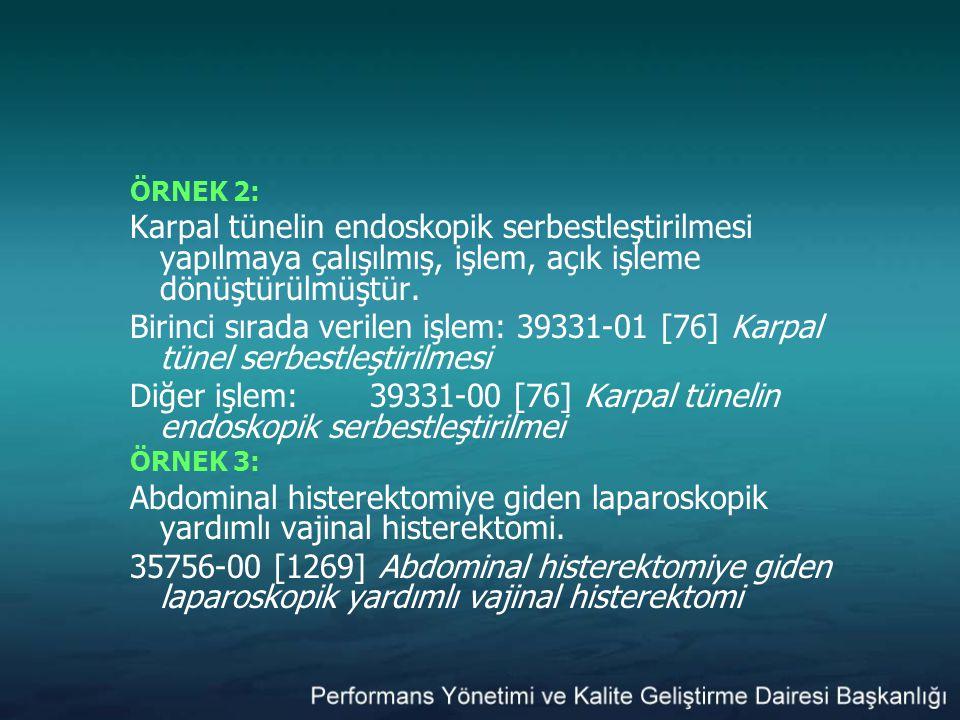 ÖRNEK 2: Karpal tünelin endoskopik serbestleştirilmesi yapılmaya çalışılmış, işlem, açık işleme dönüştürülmüştür. Birinci sırada verilen işlem: 39331-