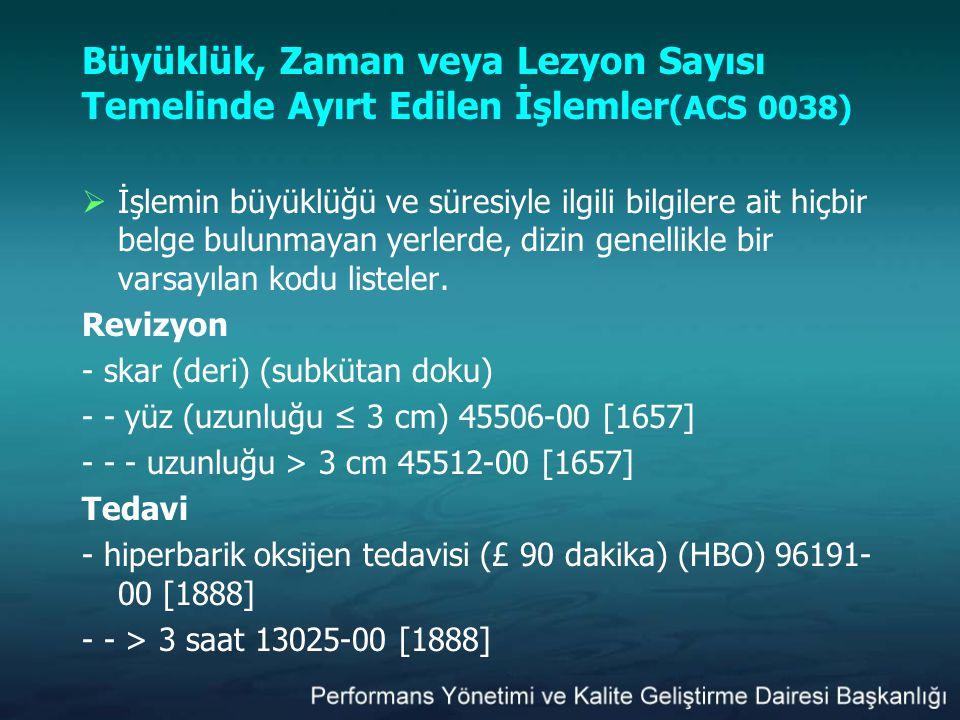 Büyüklük, Zaman veya Lezyon Sayısı Temelinde Ayırt Edilen İşlemler (ACS 0038)  İşlemin büyüklüğü ve süresiyle ilgili bilgilere ait hiçbir belge bulun