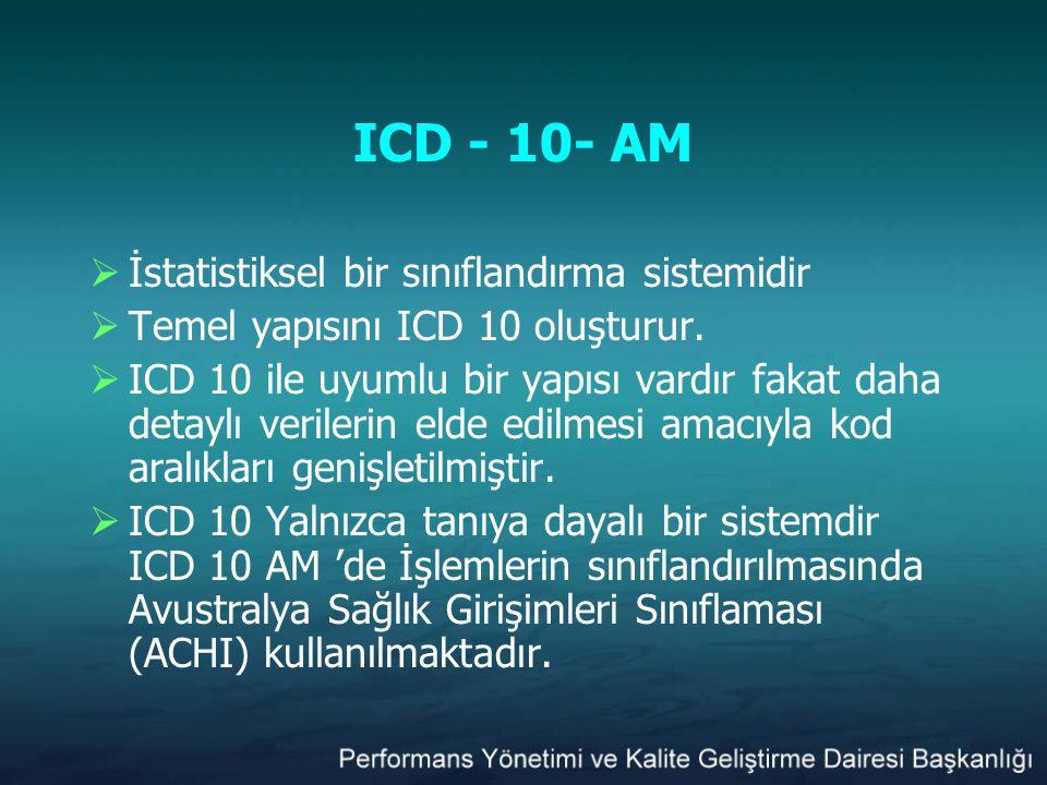 ICD - 10- AM  İstatistiksel bir sınıflandırma sistemidir  Temel yapısını ICD 10 oluşturur.  ICD 10 ile uyumlu bir yapısı vardır fakat daha detaylı