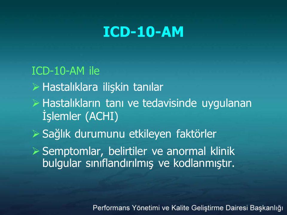 ICD-10-AM ICD-10-AM ile  Hastalıklara ilişkin tanılar  Hastalıkların tanı ve tedavisinde uygulanan İşlemler (ACHI)  Sağlık durumunu etkileyen faktö