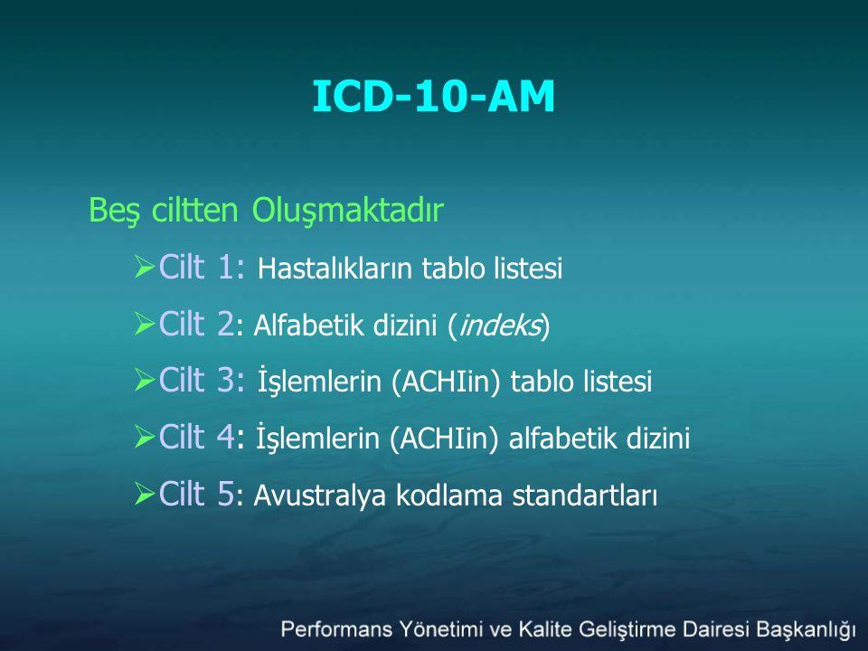 ICD-10-AM Beş ciltten Oluşmaktadır  Cilt 1: Hastalıkların tablo listesi  Cilt 2 : Alfabetik dizini (indeks)  Cilt 3: İşlemlerin (ACHIin) tablo list
