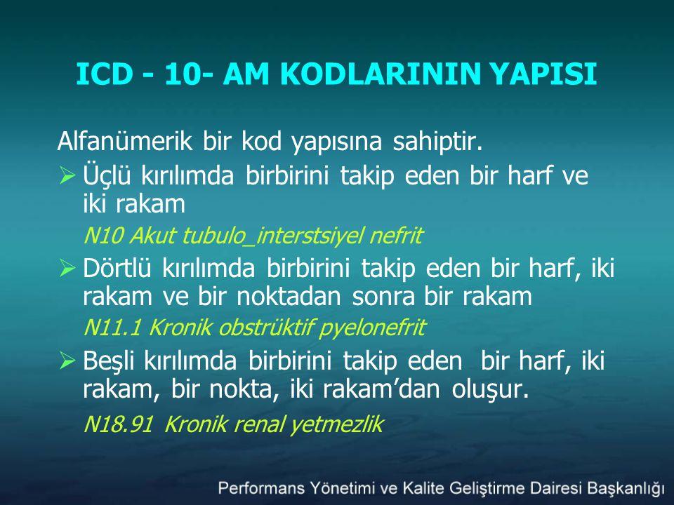 ICD - 10- AM KODLARININ YAPISI Alfanümerik bir kod yapısına sahiptir.  Üçlü kırılımda birbirini takip eden bir harf ve iki rakam N10 Akut tubulo_inte