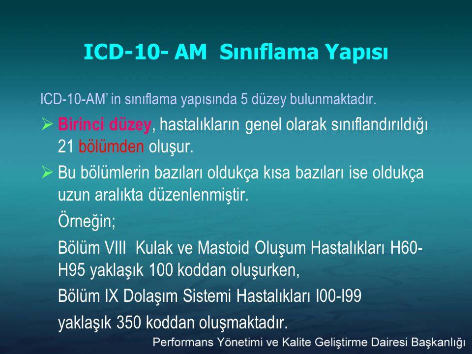ICD-10- AM Sınıflama Yapısı ICD-10-AM' in sınıflama yapısında 5 düzey bulunmaktadır.  Birinci düzey, hastalıkların genel olarak sınıflandırıldığı 21