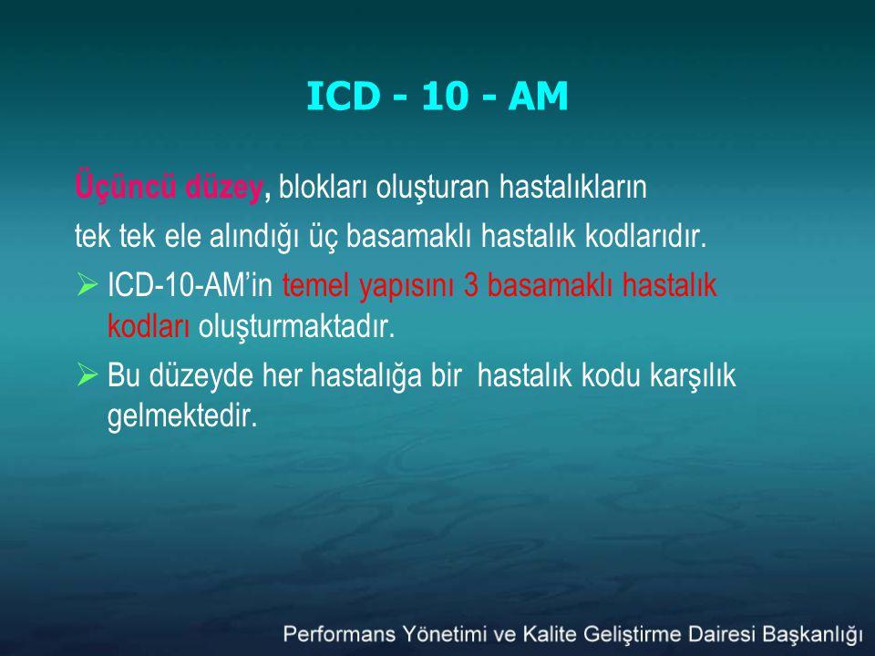 ICD - 10 - AM Üçüncü düzey, blokları oluşturan hastalıkların tek tek ele alındığı üç basamaklı hastalık kodlarıdır.  ICD-10-AM'in temel yapısını 3 ba