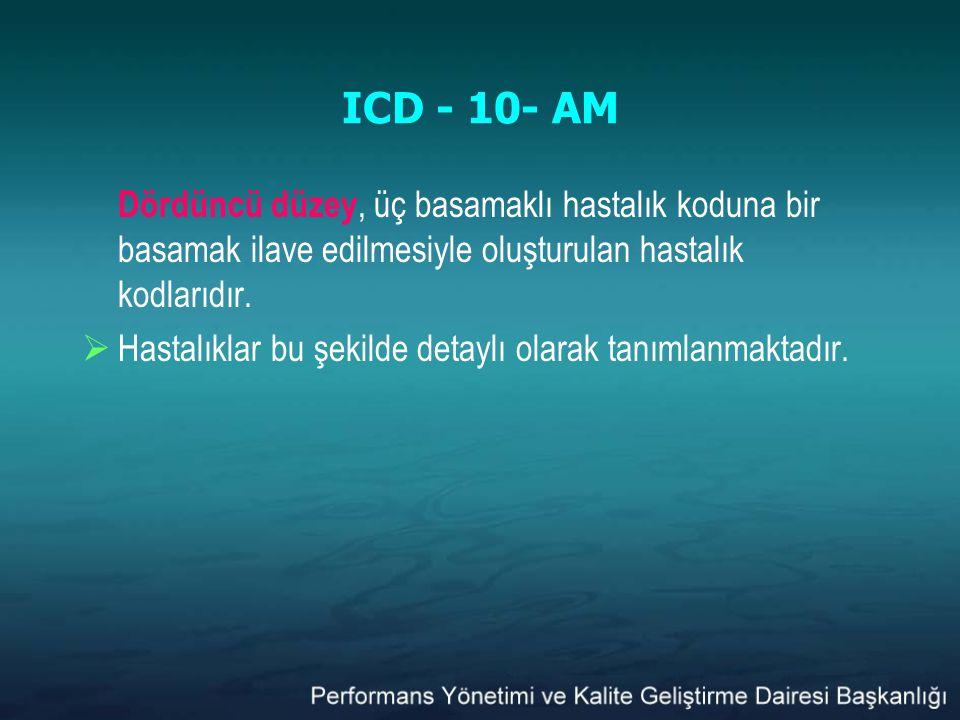 ICD - 10- AM Dördüncü düzey, üç basamaklı hastalık koduna bir basamak ilave edilmesiyle oluşturulan hastalık kodlarıdır.  Hastalıklar bu şekilde deta