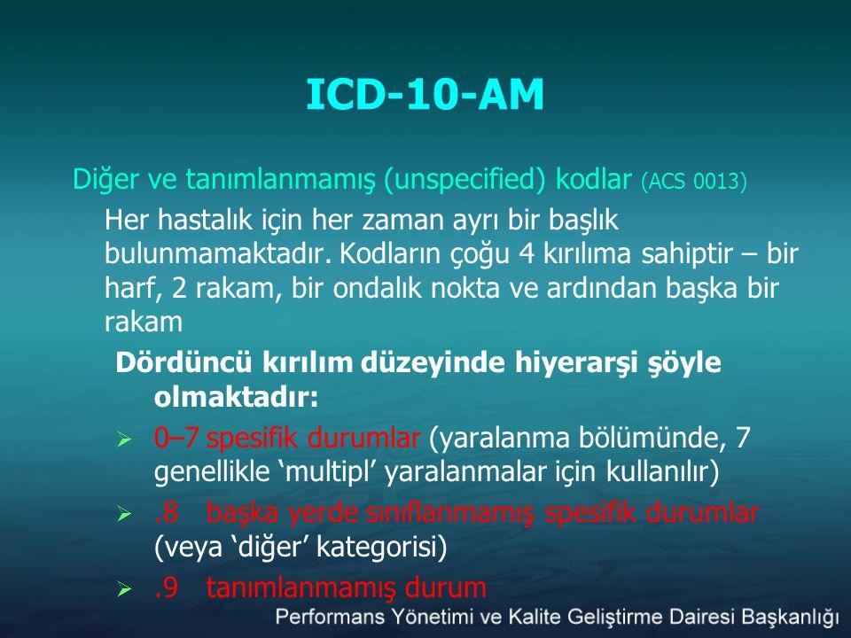 ICD-10-AM Diğer ve tanımlanmamış (unspecified) kodlar (ACS 0013) Her hastalık için her zaman ayrı bir başlık bulunmamaktadır. Kodların çoğu 4 kırılıma