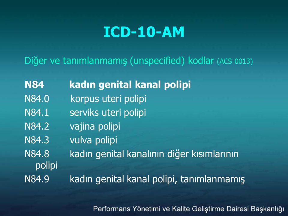ICD-10-AM Diğer ve tanımlanmamış (unspecified) kodlar (ACS 0013) N84 kadın genital kanal polipi N84.0 korpus uteri polipi N84.1serviks uteri polipi N8