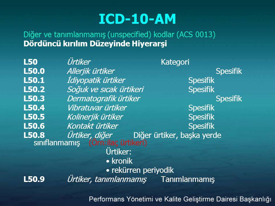 ICD-10-AM Diğer ve tanımlanmamış (unspecified) kodlar (ACS 0013) Dördüncü kırılım Düzeyinde Hiyerarşi L50ÜrtikerKategori L50.0Allerjik ürtiker Spesifi