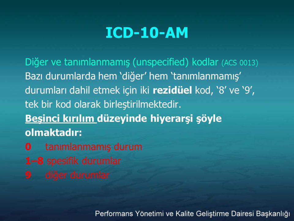 ICD-10-AM Diğer ve tanımlanmamış (unspecified) kodlar (ACS 0013) Bazı durumlarda hem 'diğer' hem 'tanımlanmamış' durumları dahil etmek için iki rezidü