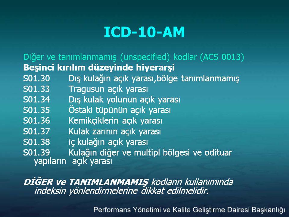 ICD-10-AM Diğer ve tanımlanmamış (unspecified) kodlar (ACS 0013) Beşinci kırılım düzeyinde hiyerarşi S01.30Dış kulağın açık yarası,bölge tanımlanmamış