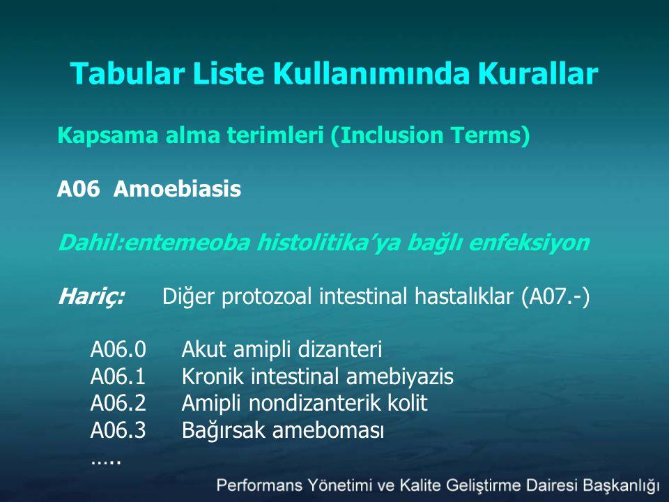 Tabular Liste Kullanımında Kurallar Kapsama alma terimleri (Inclusion Terms) A06 Amoebiasis Dahil:entemeoba histolitika'ya bağlı enfeksiyon Hariç:Diğe
