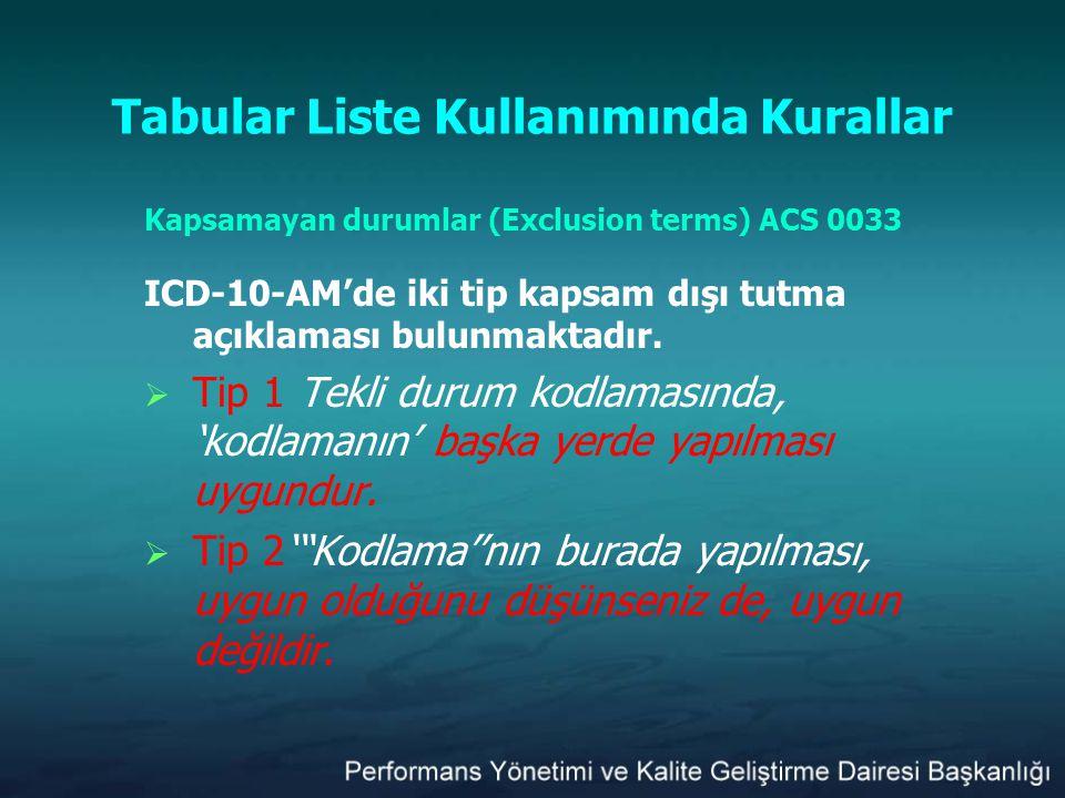Tabular Liste Kullanımında Kurallar Kapsamayan durumlar (Exclusion terms) ACS 0033 ICD-10-AM'de iki tip kapsam dışı tutma açıklaması bulunmaktadır. 