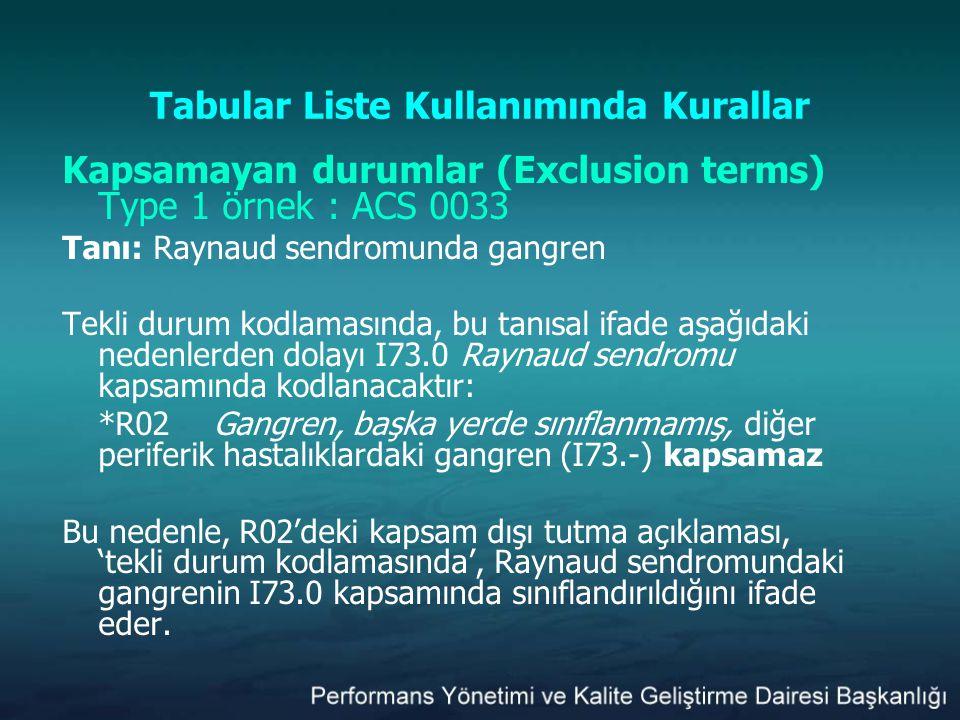 Tabular Liste Kullanımında Kurallar Kapsamayan durumlar (Exclusion terms) Type 1 örnek : ACS 0033 Tanı: Raynaud sendromunda gangren Tekli durum kodlam