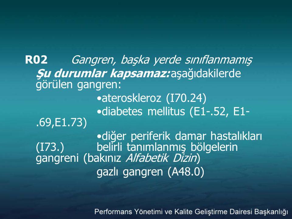 R02Gangren, başka yerde sınıflanmamış Şu durumlar kapsamaz:aşağıdakilerde görülen gangren: ateroskleroz (I70.24) diabetes mellitus (E1-.52, E1-.69,E1.