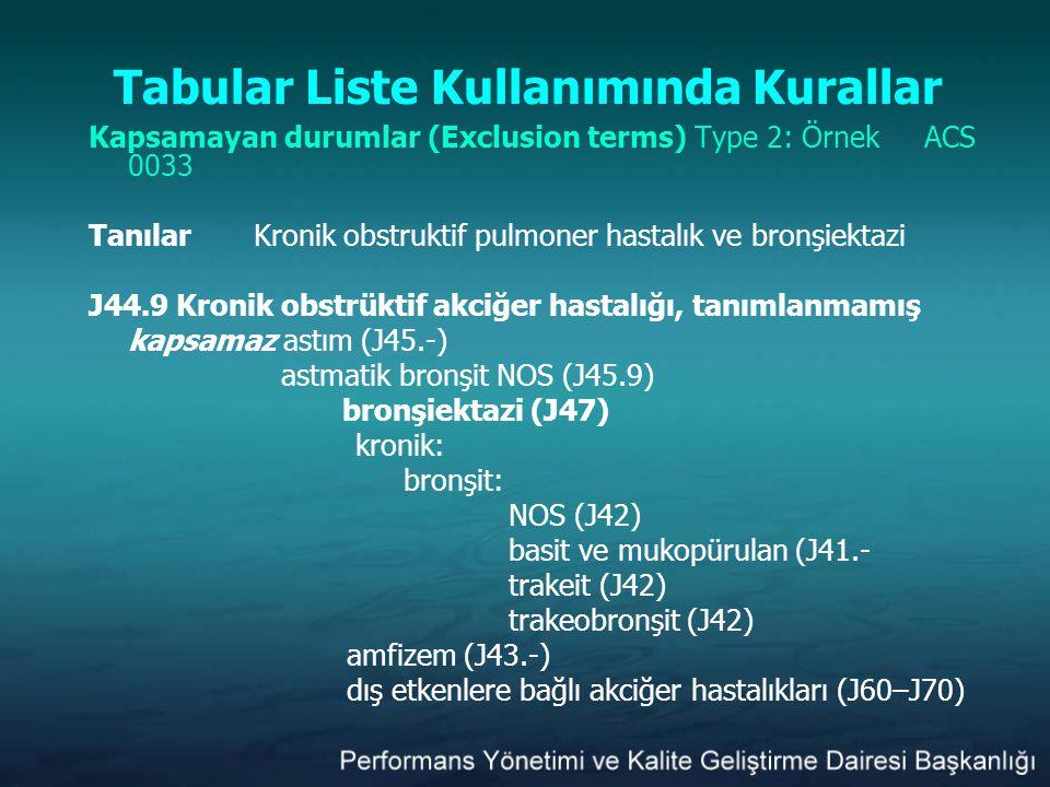 Tabular Liste Kullanımında Kurallar Kapsamayan durumlar (Exclusion terms) Type 2: Örnek ACS 0033 TanılarKronik obstruktif pulmoner hastalık ve bronşie