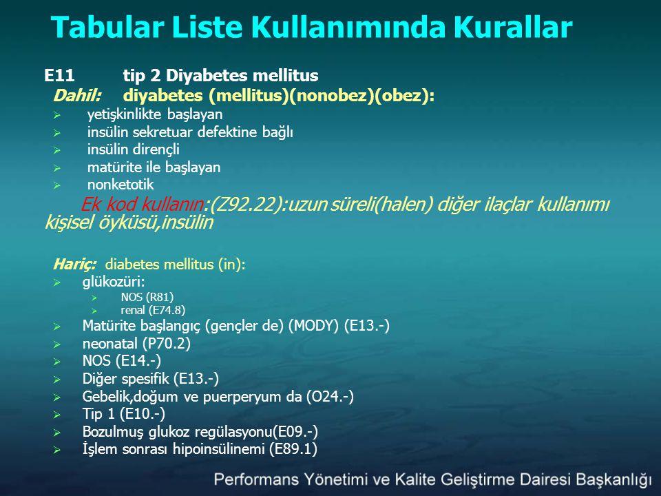 Tabular Liste Kullanımında Kurallar E11tip 2 Diyabetes mellitus Dahil:diyabetes (mellitus)(nonobez)(obez):  yetişkinlikte başlayan  insülin sekretua