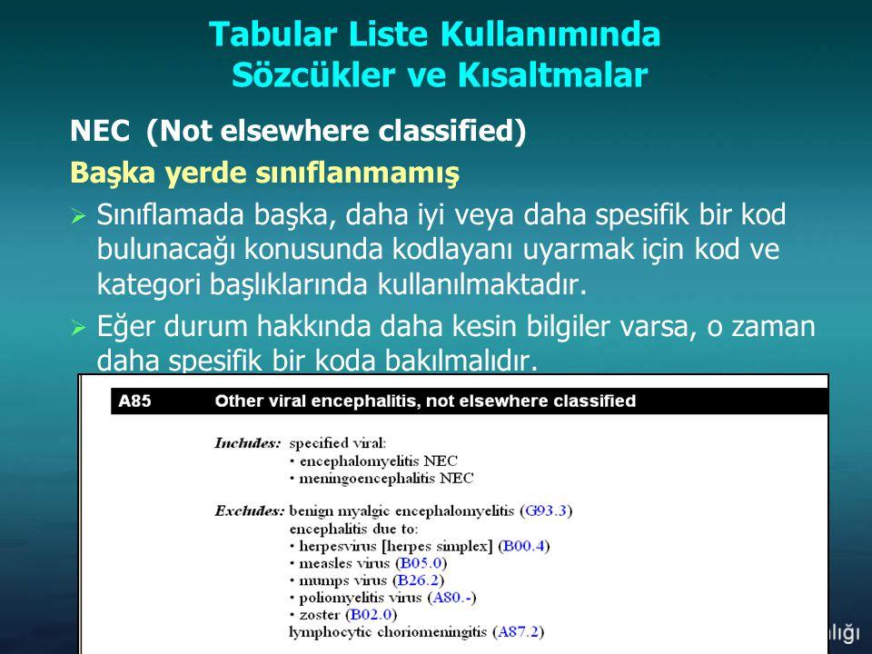 Tabular Liste Kullanımında Sözcükler ve Kısaltmalar NEC (Not elsewhere classified) Başka yerde sınıflanmamış  Sınıflamada başka, daha iyi veya daha s