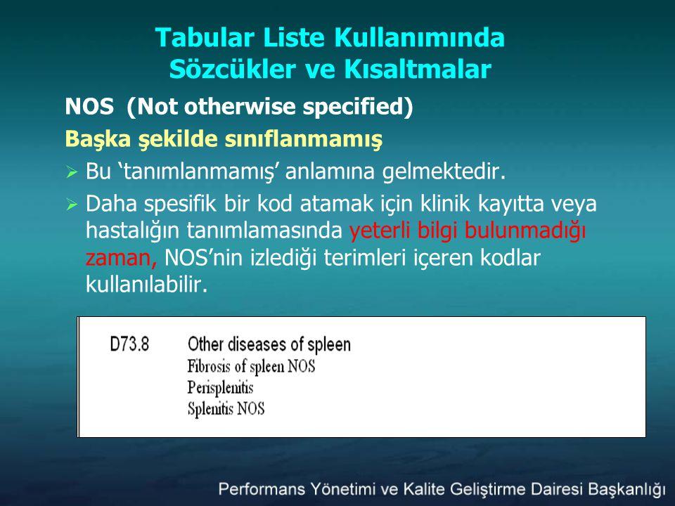 Tabular Liste Kullanımında Sözcükler ve Kısaltmalar NOS (Not otherwise specified) Başka şekilde sınıflanmamış  Bu 'tanımlanmamış' anlamına gelmektedi