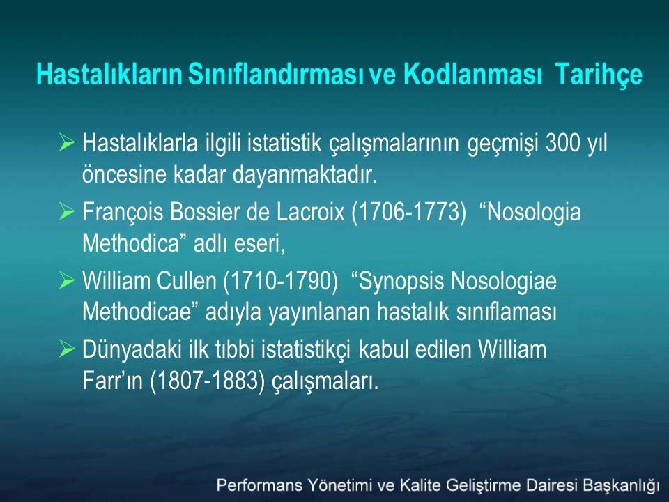 Hastalıkların Sınıflandırması ve Kodlanması Tarihçe  Hastalıklarla ilgili istatistik çalışmalarının geçmişi 300 yıl öncesine kadar dayanmaktadır.  F