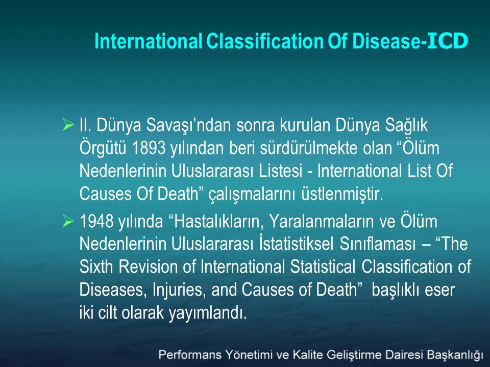 International Classification Of Disease- ICD  II.