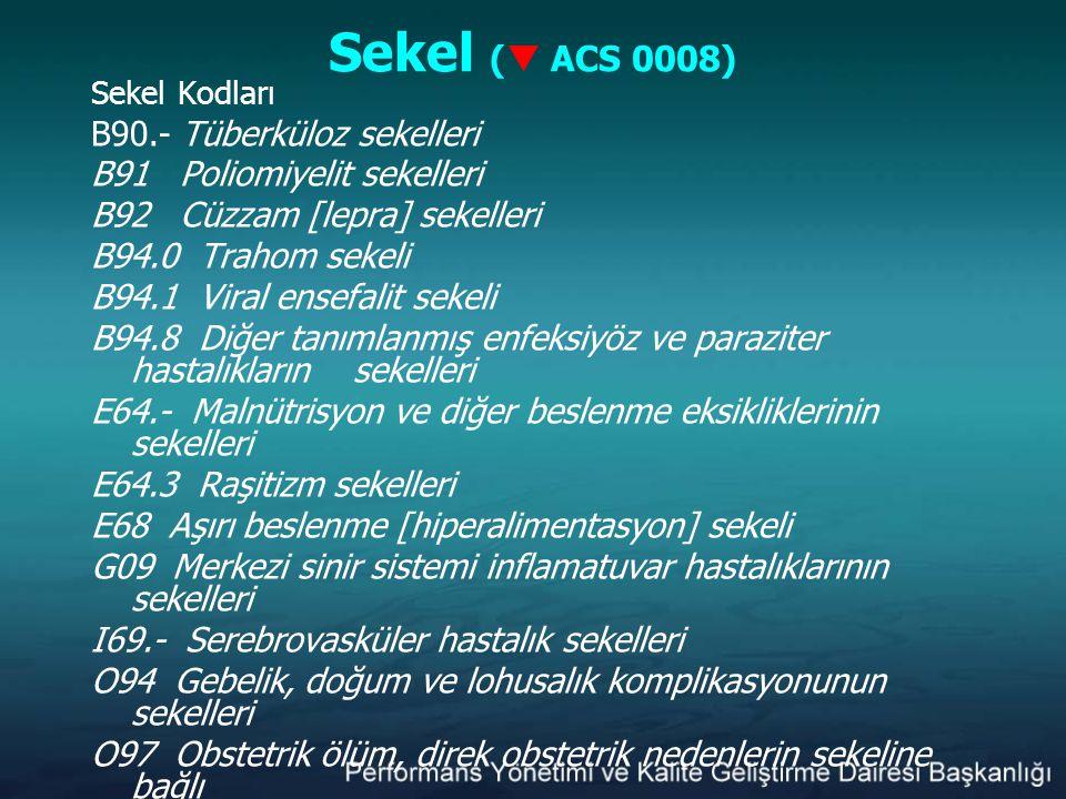 Sekel (  ACS 0008) Sekel Kodları B90.- Tüberküloz sekelleri B91 Poliomiyelit sekelleri B92 Cüzzam [lepra] sekelleri B94.0 Trahom sekeli B94.1 Viral e