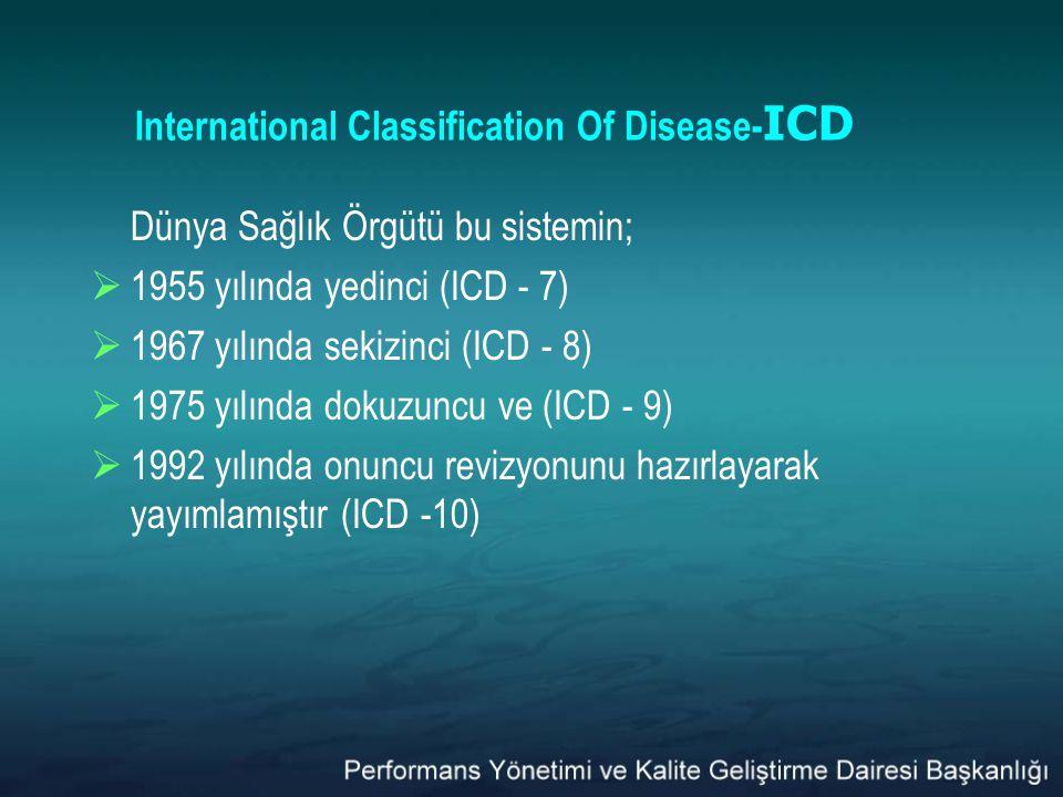 International Classification Of Disease- ICD Dünya Sağlık Örgütü bu sistemin;  1955 yılında yedinci (ICD - 7)  1967 yılında sekizinci (ICD - 8)  19