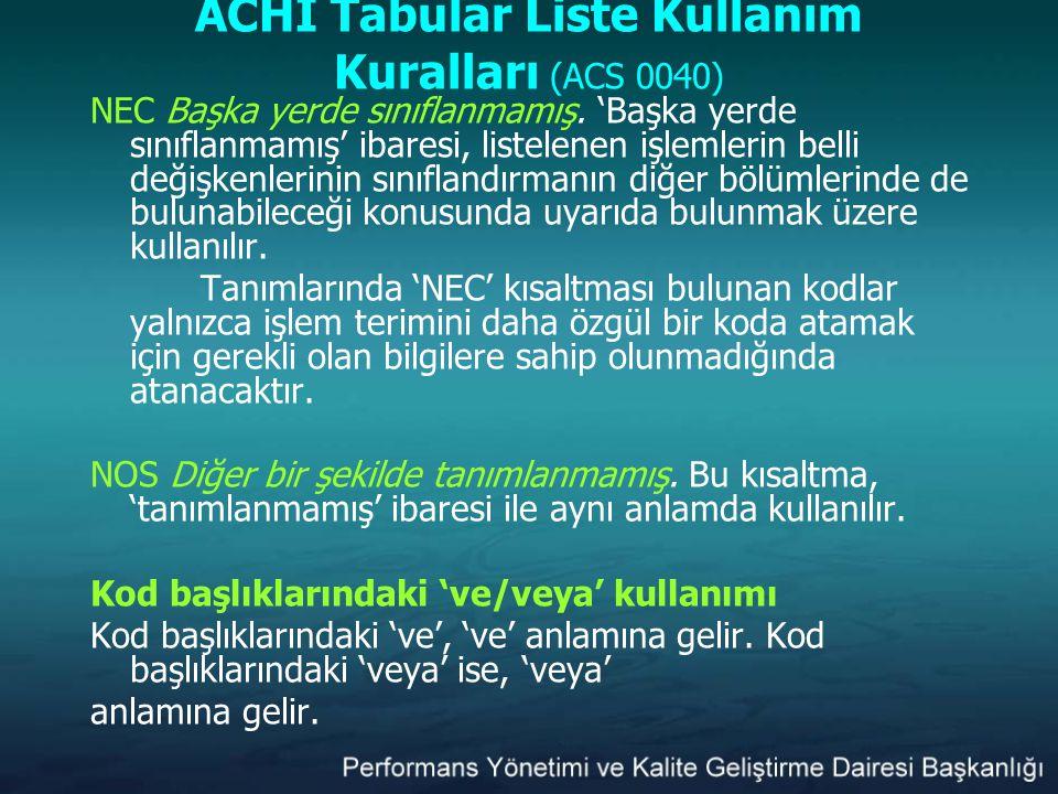 ACHI Tabular Liste Kullanım Kuralları (ACS 0040) NEC Başka yerde sınıflanmamış. 'Başka yerde sınıflanmamış' ibaresi, listelenen işlemlerin belli değiş