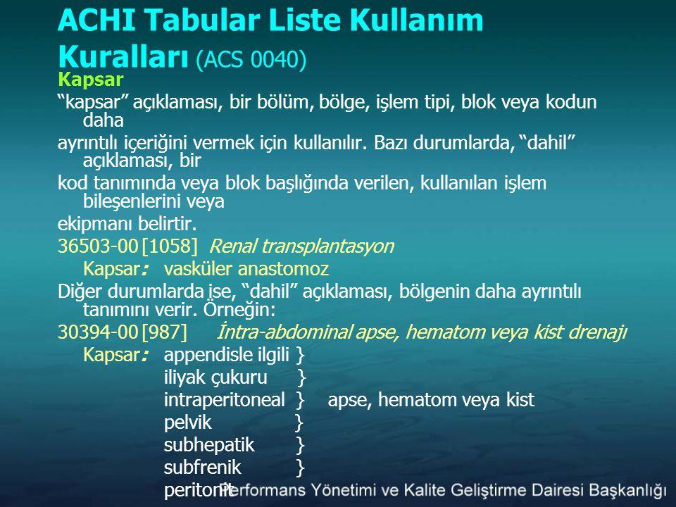 """ACHI Tabular Liste Kullanım Kuralları (ACS 0040) Kapsar """"kapsar"""" açıklaması, bir bölüm, bölge, işlem tipi, blok veya kodun daha ayrıntılı içeriğini ve"""