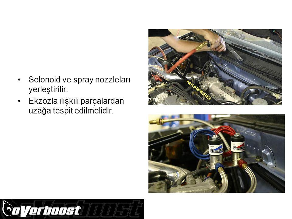 Selonoid ve spray nozzleları yerleştirilir. Ekzozla ilişkili parçalardan uzağa tespit edilmelidir.