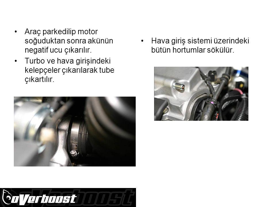 Araç parkedilip motor soğuduktan sonra akünün negatif ucu çıkarılır.