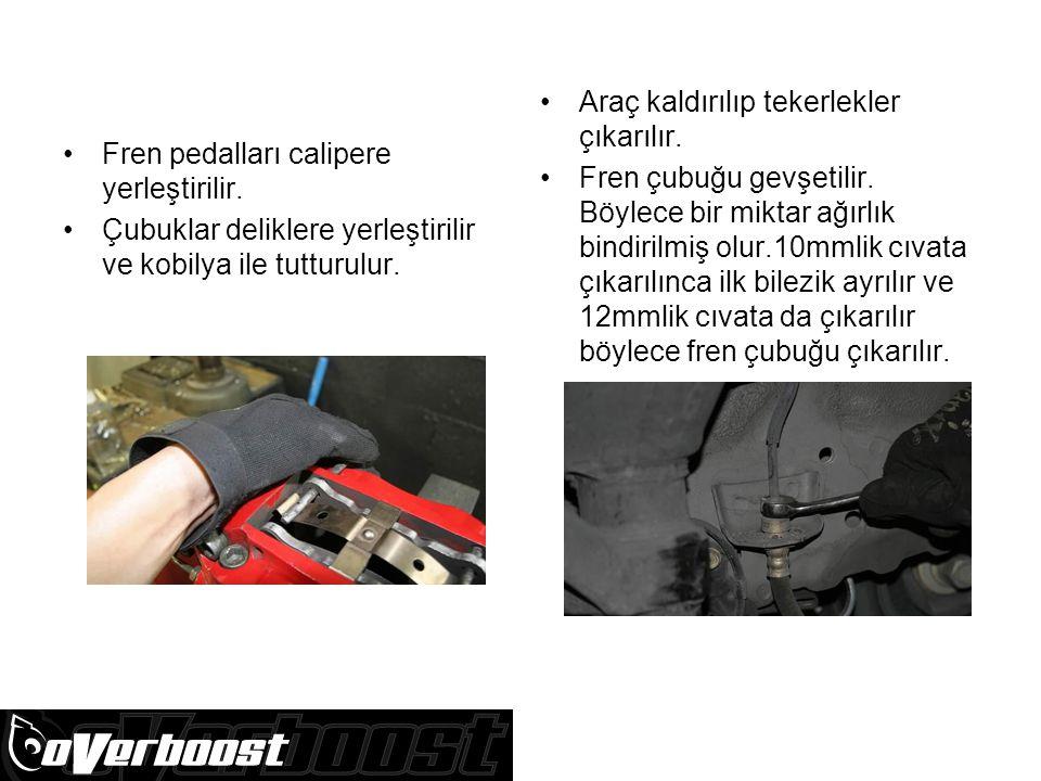Fren pedalları calipere yerleştirilir.Çubuklar deliklere yerleştirilir ve kobilya ile tutturulur.