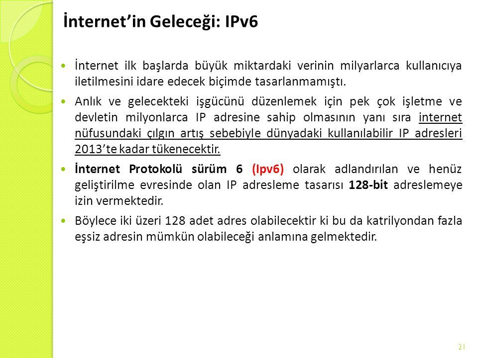İnternet'in Geleceği: IPv6 İnternet ilk başlarda büyük miktardaki verinin milyarlarca kullanıcıya iletilmesini idare edecek biçimde tasarlanmamıştı.