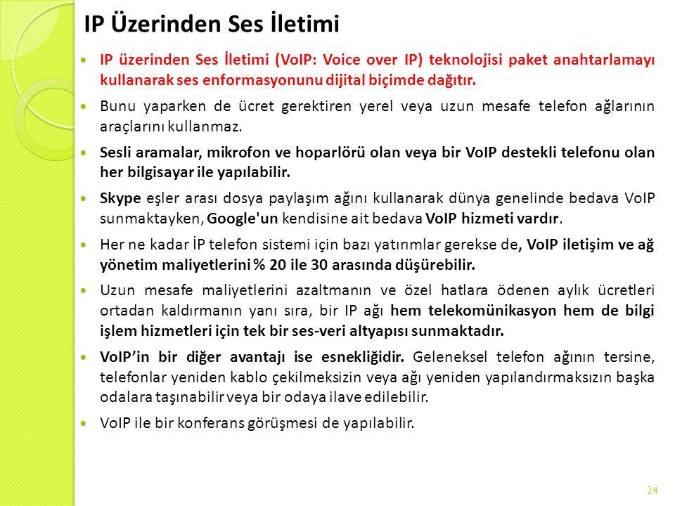 IP Üzerinden Ses İletimi IP üzerinden Ses İletimi (VoIP: Voice over IP) teknolojisi paket anahtarlamayı kullanarak ses enformasyonunu dijital biçimde