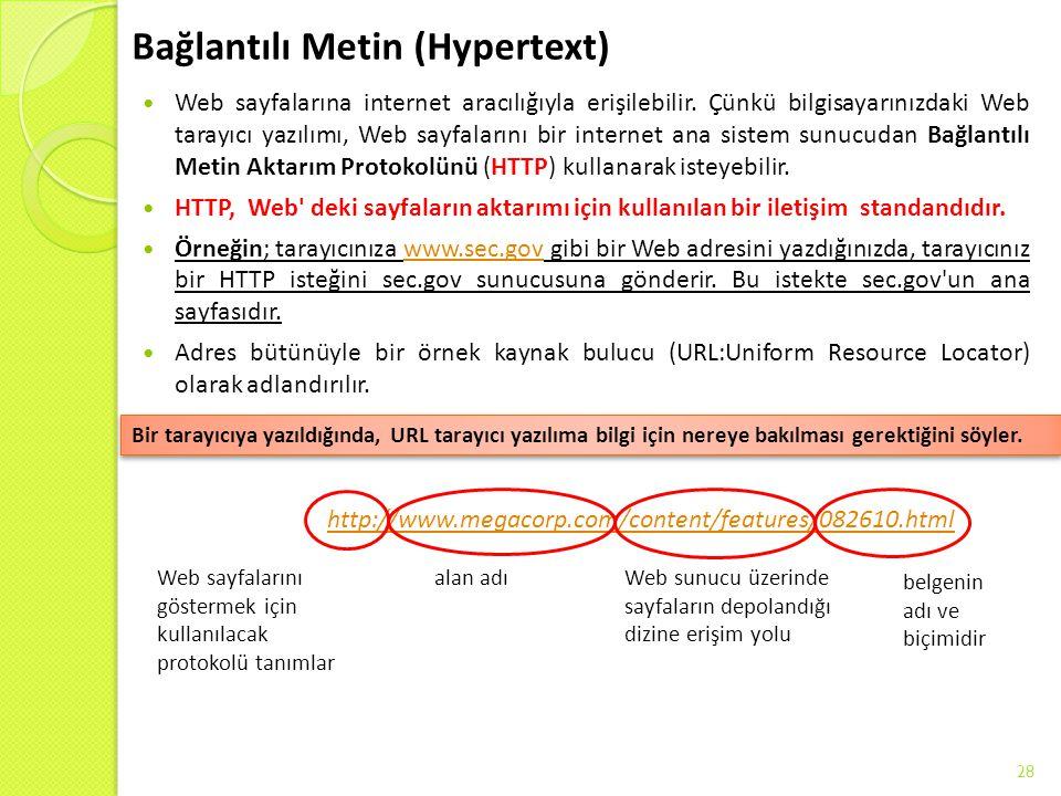 Bağlantılı Metin (Hypertext) Web sayfalarına internet aracılığıyla erişilebilir. Çünkü bilgisayarınızdaki Web tarayıcı yazılımı, Web sayfalarını bir i