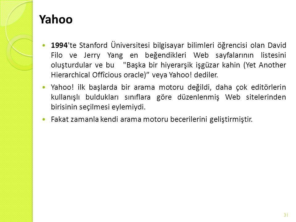 Yahoo 1994'te Stanford Üniversitesi bilgisayar bilimleri öğrencisi olan David Filo ve Jerry Yang en beğendikleri Web sayfalarının listesini oluşturdul