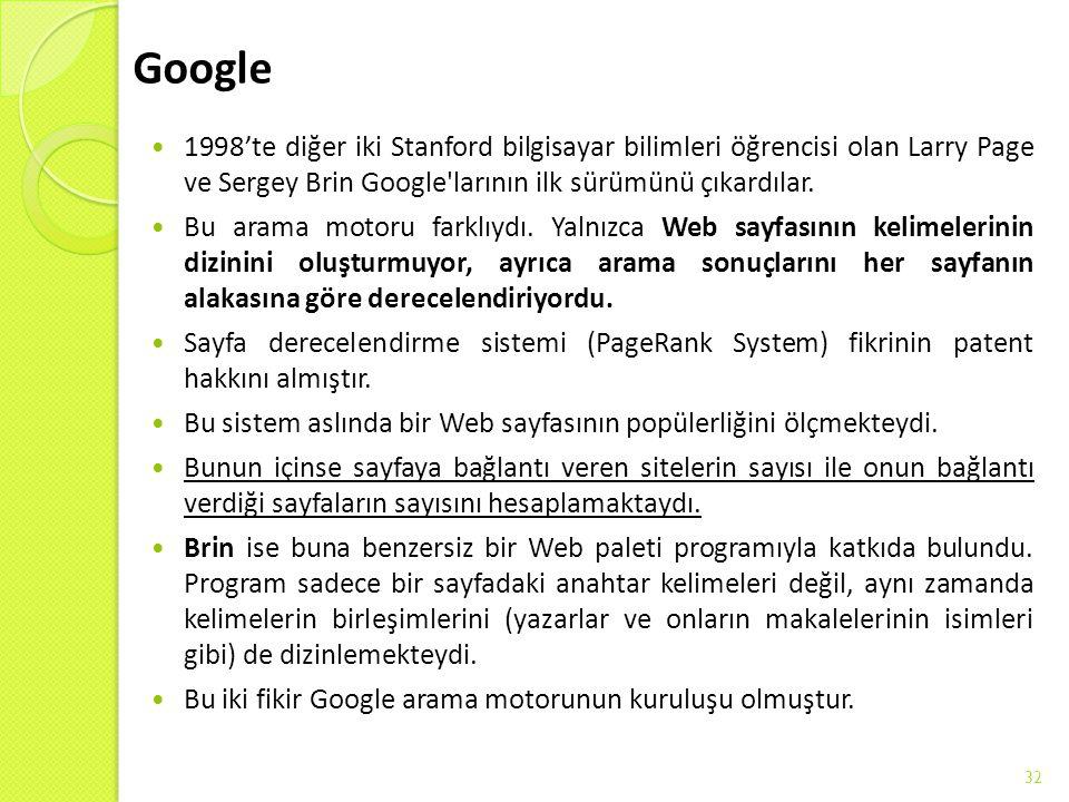Google 1998'te diğer iki Stanford bilgisayar bilimleri öğrencisi olan Larry Page ve Sergey Brin Google'larının ilk sürümünü çıkardılar. Bu arama motor