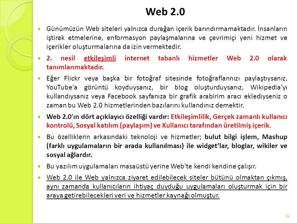 Web 2.0 Günümüzün Web siteleri yalnızca durağan içerik barındırmamaktadır. İnsanların iştirak etmelerine, enformasyon paylaşmalarına ve çevrimiçi yen