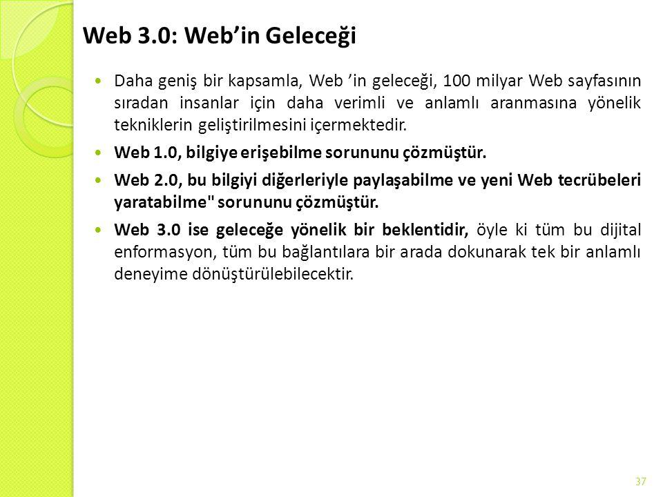 Web 3.0: Web'in Geleceği Daha geniş bir kapsamla, Web 'in geleceği, 100 milyar Web sayfasının sıradan insanlar için daha verimli ve anlamlı aranmasın