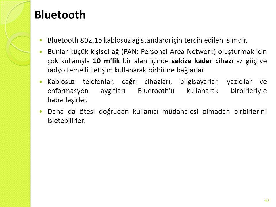 Bluetooth Bluetooth 802.15 kablosuz ağ standardı için tercih edilen isimdir. Bunlar küçük kişisel ağ (PAN: Personal Area Network) oluşturmak için çok