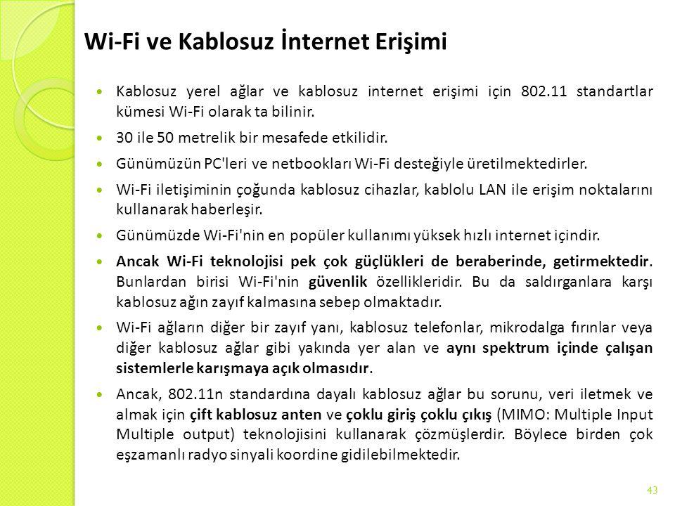 Wi-Fi ve Kablosuz İnternet Erişimi Kablosuz yerel ağlar ve kablosuz internet erişimi için 802.11 standartlar kümesi Wi-Fi olarak ta bilinir. 30 ile 50