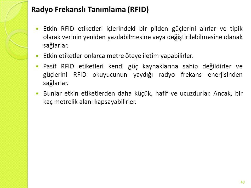 Radyo Frekanslı Tanımlama (RFID) Etkin RFID etiketleri içlerindeki bir pilden güçlerini alırlar ve tipik olarak verinin yeniden yazılabilmesine veya d