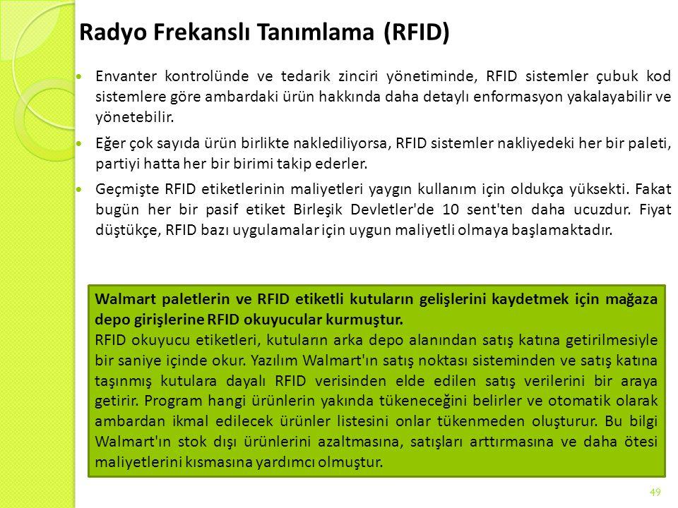 Radyo Frekanslı Tanımlama (RFID) Envanter kontrolünde ve tedarik zinciri yönetiminde, RFID sistemler çubuk kod sistemlere göre ambardaki ürün hakkında