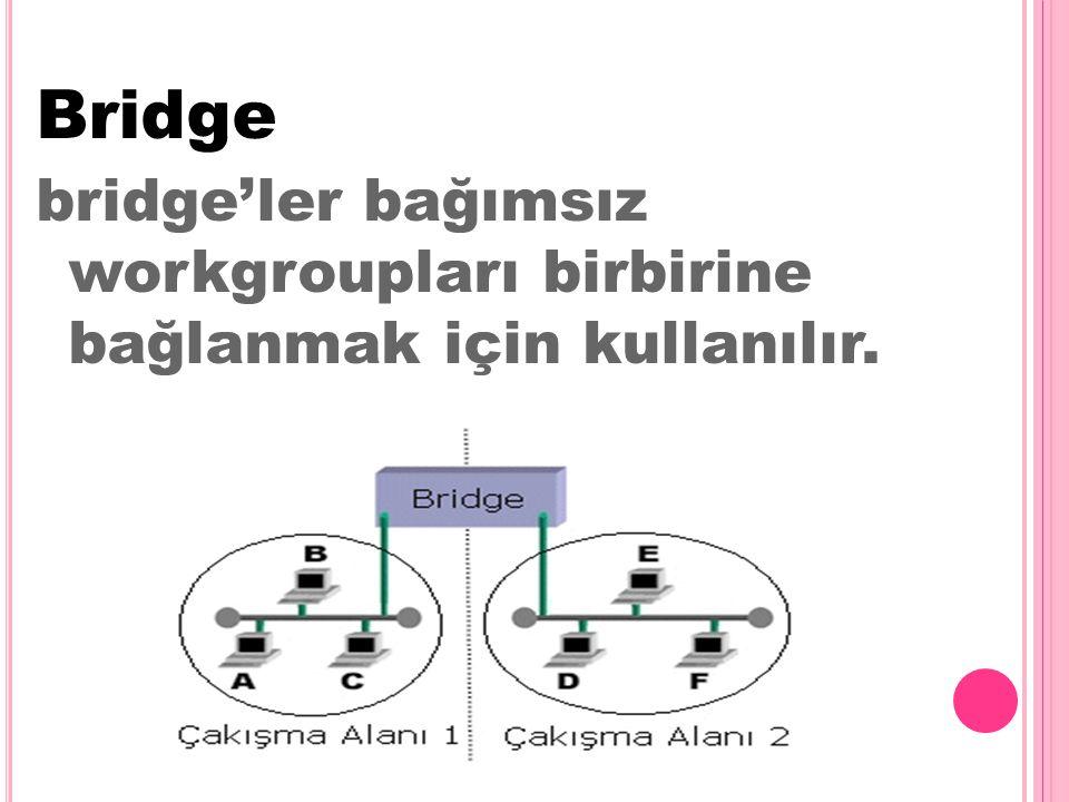 Bridge bridge'ler bağımsız workgroupları birbirine bağlanmak için kullanılır.