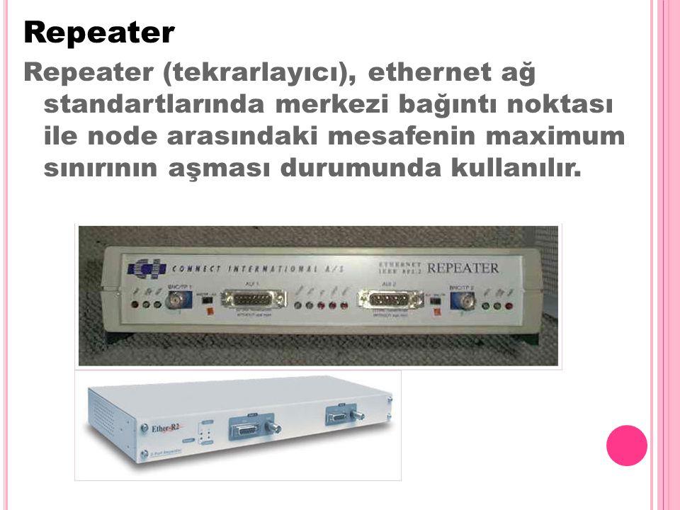 Repeater Repeater (tekrarlayıcı), ethernet ağ standartlarında merkezi bağıntı noktası ile node arasındaki mesafenin maximum sınırının aşması durumunda kullanılır.